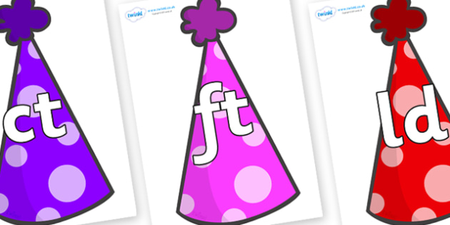 Final Letter Blends on Party Hats - Final Letters, final letter, letter blend, letter blends, consonant, consonants, digraph, trigraph, literacy, alphabet, letters, foundation stage literacy