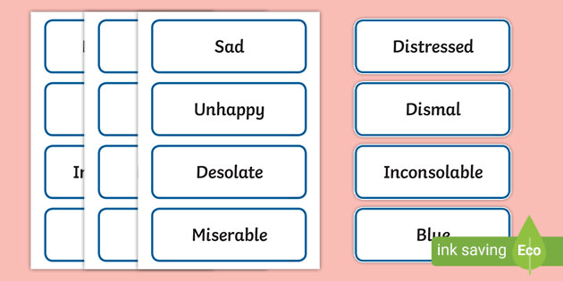 Sad Synonyms Word List Ready To Print Resources