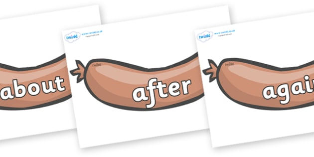 KS1 Keywords on Sausages to Support Teaching on The Very Hungry Caterpillar - KS1, CLL, Communication language and literacy, Display, Key words, high frequency words, foundation stage literacy, DfES Letters and Sounds, Letters and Sounds, spelling