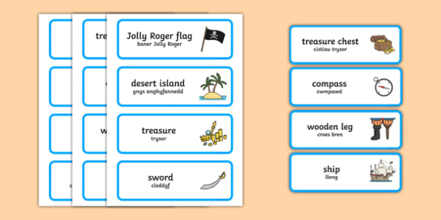 Pirate Word Cards Bilingual Resource - Pirate, Word Cards, Welsh, Welsh Display, Role Play