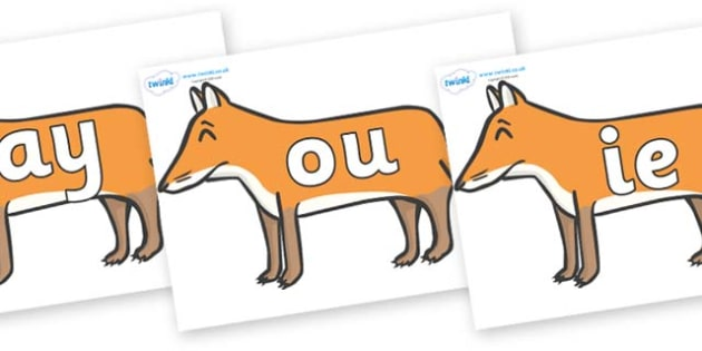 Phase 5 Phonemes on Foxes - Phonemes, phoneme, Phase 5, Phase five, Foundation, Literacy, Letters and Sounds, DfES, display