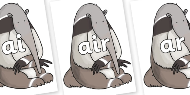 Phase 3 Phonemes on Anteater to Support Teaching on The Great Pet Sale - Phonemes, phoneme, Phase 3, Phase three, Foundation, Literacy, Letters and Sounds, DfES, display