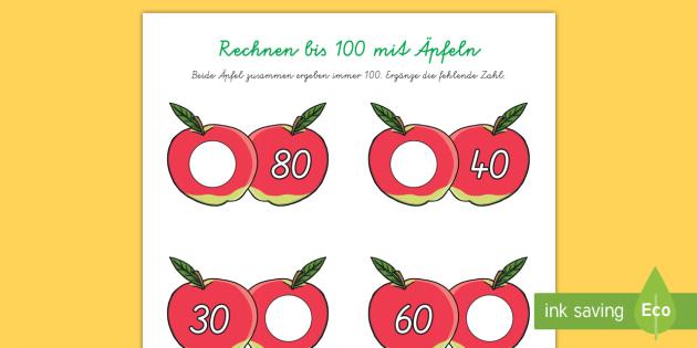 Äpfel bis 100 addieren Arbeitsblatt - Mathematik, Rechnen