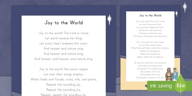 Joy to the World Christmas Carol Song Lyrics (teacher made)