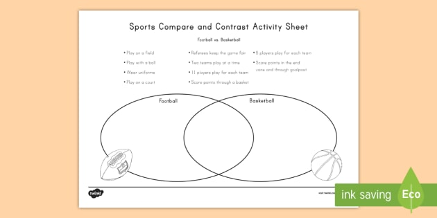 Football And Basketball Compare And Contrast Worksheet