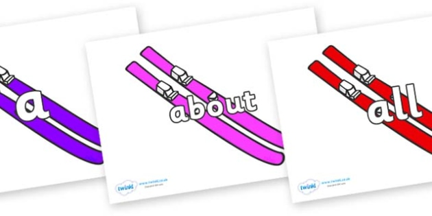 100 High Frequency Words on Skis - High frequency words, hfw, DfES Letters and Sounds, Letters and Sounds, display words