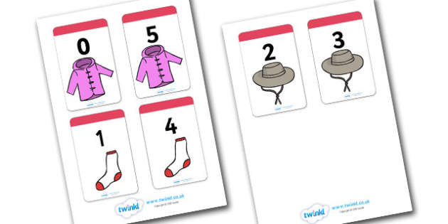 Number Bonds to 5 Matching Cards (Clothing) - Number Bonds, Matching Cards, Clothing picture Cards, Number Bonds to 5