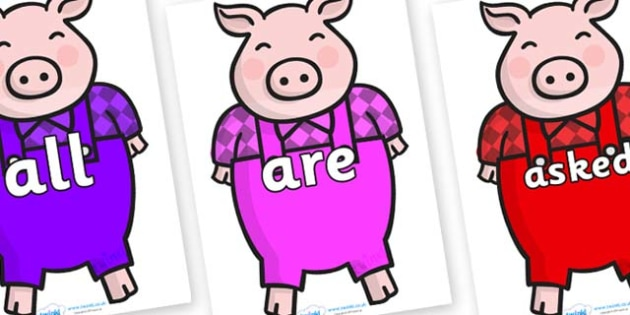 Tricky Words on Pigs - Tricky words, DfES Letters and Sounds, Letters and sounds, display, words
