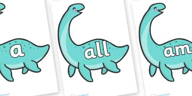 Foundation Stage 2 Keywords on Pleseosaur Dinosaurs - FS2, CLL, keywords, Communication language and literacy,  Display, Key words, high frequency words, foundation stage literacy, DfES Letters and Sounds, Letters and Sounds, spelling