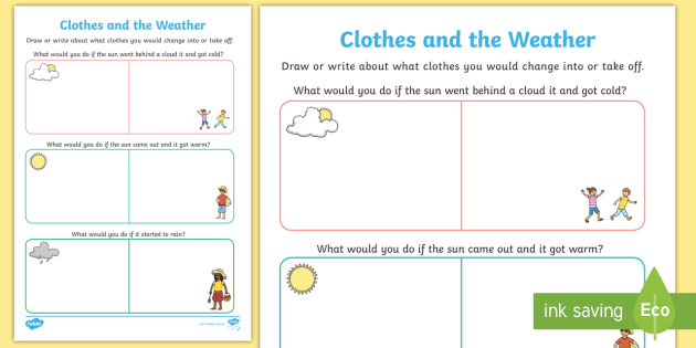 clothes and the weather worksheet activity sheet rainy. Black Bedroom Furniture Sets. Home Design Ideas