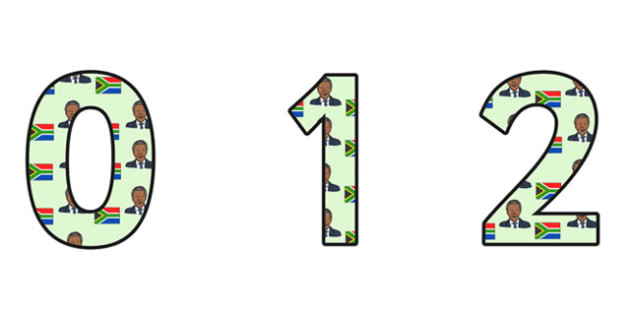 Nelson Mandela Themed A4 Display Numbers - nelson mandela, display numbers, themed number, classroom number, numbers for display, a4 number, display