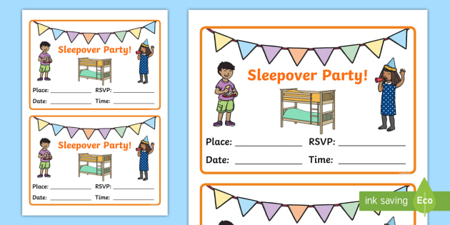 NEW Sleepover Party Invitation