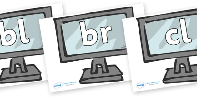 Initial Letter Blends on Monitors - Initial Letters, initial letter, letter blend, letter blends, consonant, consonants, digraph, trigraph, literacy, alphabet, letters, foundation stage literacy
