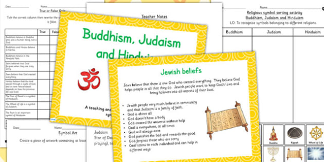 Buddhism Judaism And Hinduism Beliefs And Religious Symbols