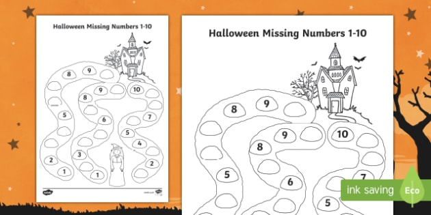 Halloween Spooky House Missing Numbers to 10 Activity Sheet