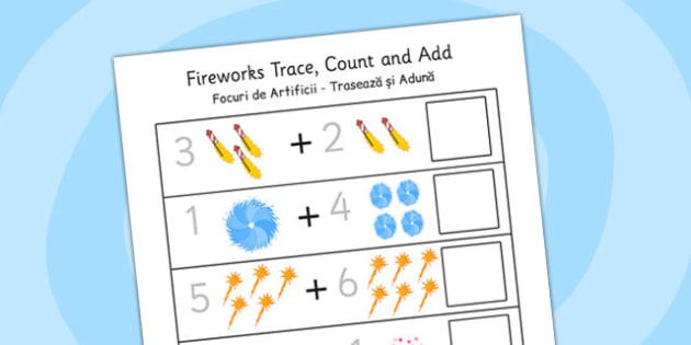 Firework Trace Count and Add Worksheet Romanian Translation - arabic