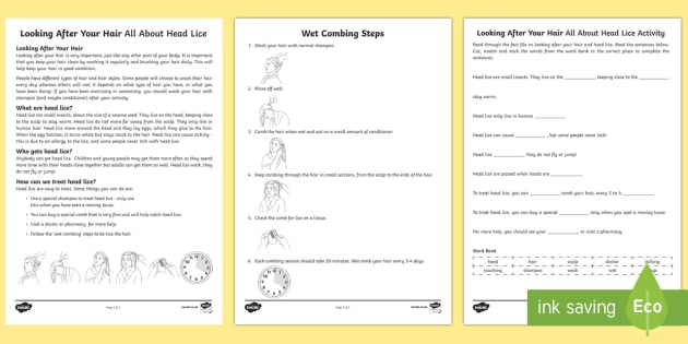 Looking After Your Hair All About Head lice Fact File and Activity Sheet - Health and Hygiene, Special Educational Needs, Head lice, Life Skills, Key Stage 3, Key Stage 4