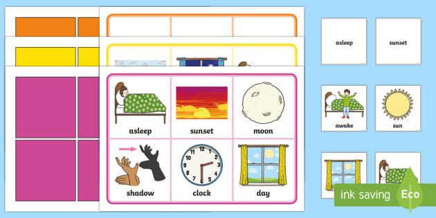 day and night bingo and lotto game eyfs early years ks1 day and night. Black Bedroom Furniture Sets. Home Design Ideas