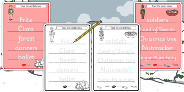 The Nutcracker Trace the Words Worksheets - nutcracker, trace