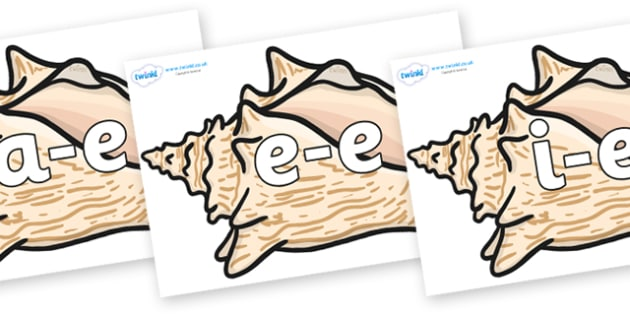 Modifying E Letters on Conch Shells - Modifying E, letters, modify, Phase 5, Phase five, alternative spellings for phonemes, DfES letters and Sounds