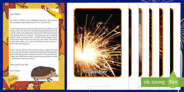 Editable Bonfire Night Hedgehog\'s Worry Letter Resource Pack - EYFS, Early Years, Key Stage 1, KS1, topic starter, topic introduction, Wow activities, lesson obser
