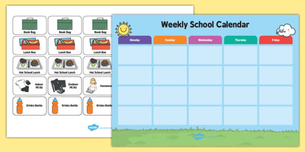 weekly school calendar