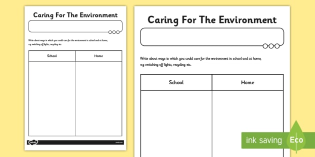 caring for the environment worksheet esl environment. Black Bedroom Furniture Sets. Home Design Ideas