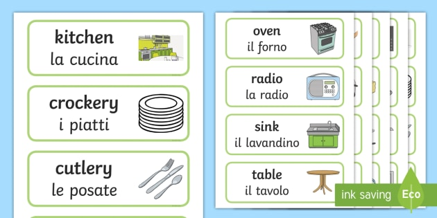 NEW * Kitchen Word Cards - Italian/English - Kitchen Word ...