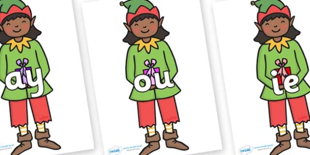 Phase 5 Phonemes on Elves - Phonemes, phoneme, Phase 5, Phase five, Foundation, Literacy, Letters and Sounds, DfES, display