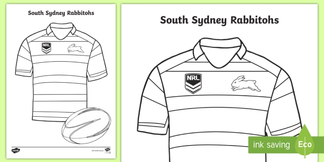 South Sydney Rabbitohs Colouring Page Teacher Made