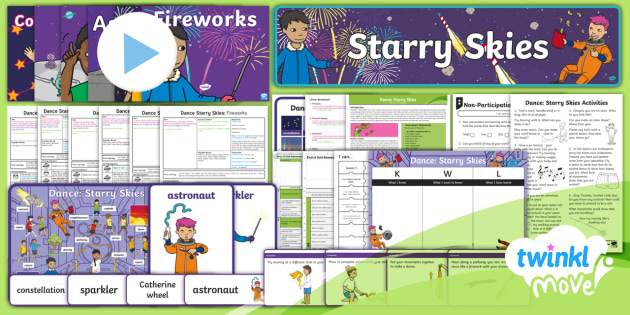 Twinkl Move - Year 1 Dance: Starry Skies - Unit Pack - Dance Starry Skies, PE, Dance, Key Stage 1, KS1, Fireworks, Streamer, Movement, Year 1, Y1, Exercise