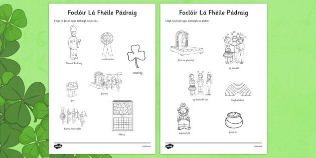 Irish Gaeilge Foclóir Lá Fhéile Pádraig Vocabulary Colouring Activity Sheet - Saint Patrick, Irish, vocabulary, Gaeilge, Colouring, worksheet