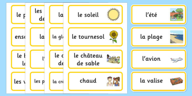Summer Topic Word Cards French - french, Summer, Word cards, Word Card, flashcard, flashcards, season, holiday, holidays, beach, sun, flowers, ice cream, sea, seaside