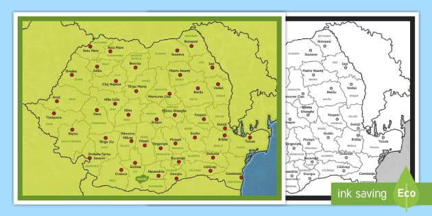 Harta României Județele și Reședințele De Județ Planșă Cu