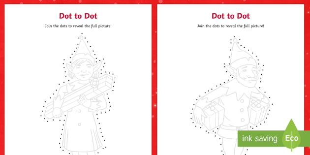 Elf Dot to Dots Activity Sheets - dot to dot, dot-to-dot, christmas, elf, elves, christmas, worksheets, eyfs, ks1, xmas