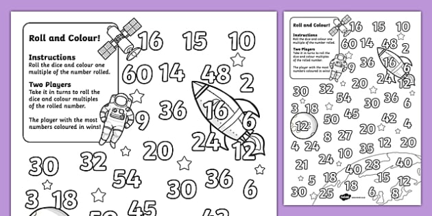 Space Themed Multiplication Roll and Colour One Dice - colour