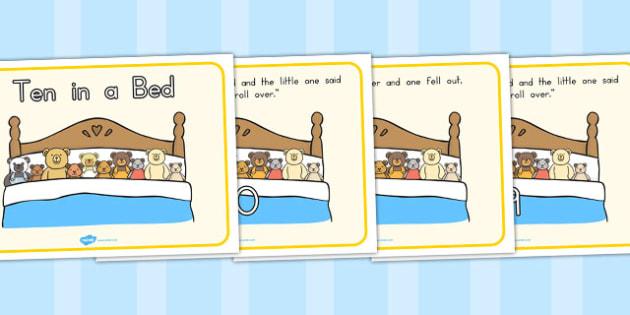 Ten in a Bed Story - stories, nursery rhyme, bears, bear, rhymes