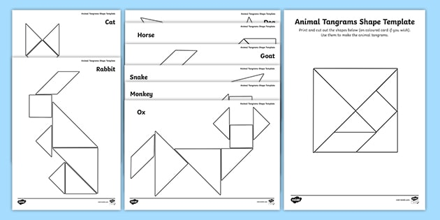 tangram shapes  template and puzzle pack  eylf resource