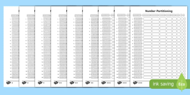 Year 6 Partitioning Activity Sheet Pack, worksheet