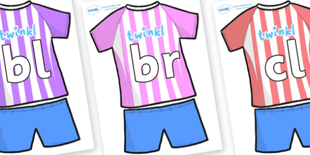 Initial Letter Blends on Football Strip - Initial Letters, initial letter, letter blend, letter blends, consonant, consonants, digraph, trigraph, literacy, alphabet, letters, foundation stage literacy