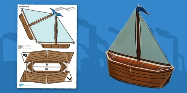 Victorian Toys Boat Paper Model - victorian toys, toy boat, boat, paper, model, craft
