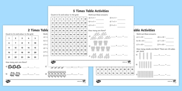 Year 2 times table activity pack for 10 in 1 games table australia