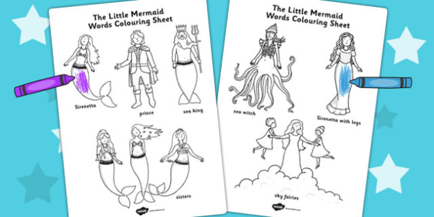 The Little Mermaid Words Colouring Sheet - colour, story books