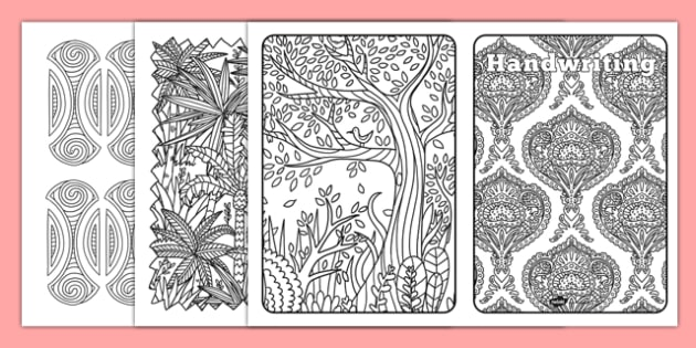 Handwriting Mindfulness Book Cover A4 - colouring, front