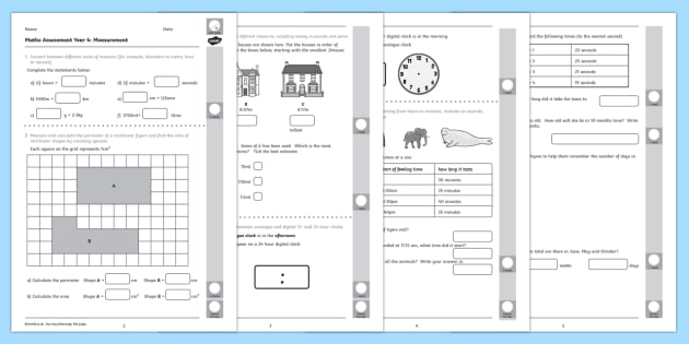 Year 4 Maths Assessment Measurement Term 1 - measuring, assessments. Autumn Term Maths Assessment