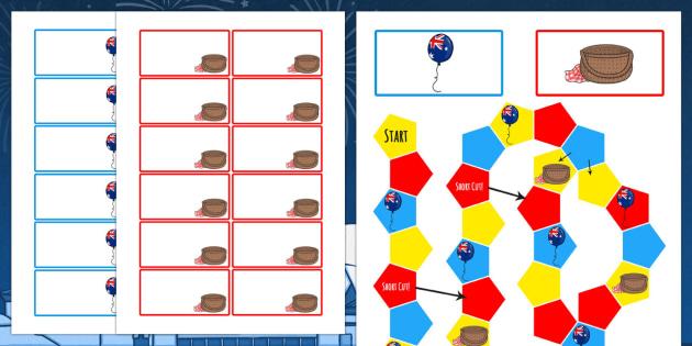 Australia Day Themed Editable Board Game - australia, board game