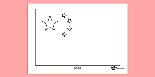 China Flag Colouring Sheet - china flag, colouring sheet