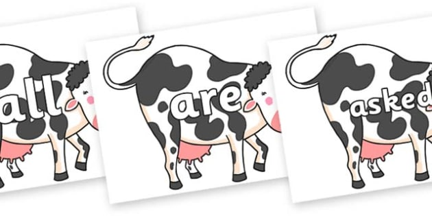 Tricky Words on Hullabaloo Cow to Support Teaching on Farmyard Hullabaloo - Tricky words, DfES Letters and Sounds, Letters and sounds, display, words