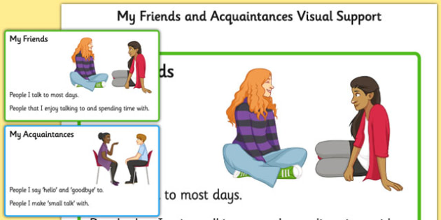 KS3 My Friends and Acquaintances Visual Support - relationships, SEN, behaviour, positive, negative, activity, secondary, support