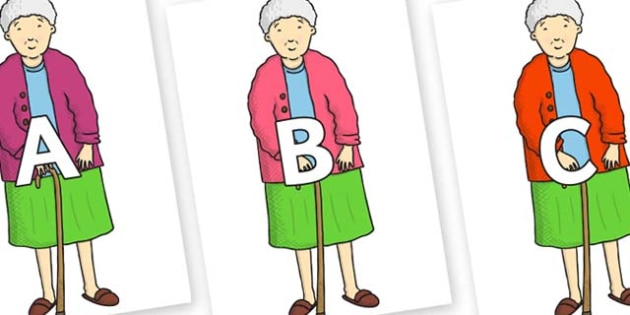 A-Z Alphabet on Harrys Nan to Support Teaching on Harry and the Bucketful of Dinosaurs - A-Z, A4, display, Alphabet frieze, Display letters, Letter posters, A-Z letters, Alphabet flashcards